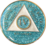 AA Medallion Aqua Blue Glitter Tri-Plate Sobriety Chip Year 1 - 45 - RecoveryChip