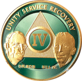 AA Founders Green Gold Plated Chip Alcoholics Anonymous Medallion  Any Year 1 - 65 - RecoveryChip