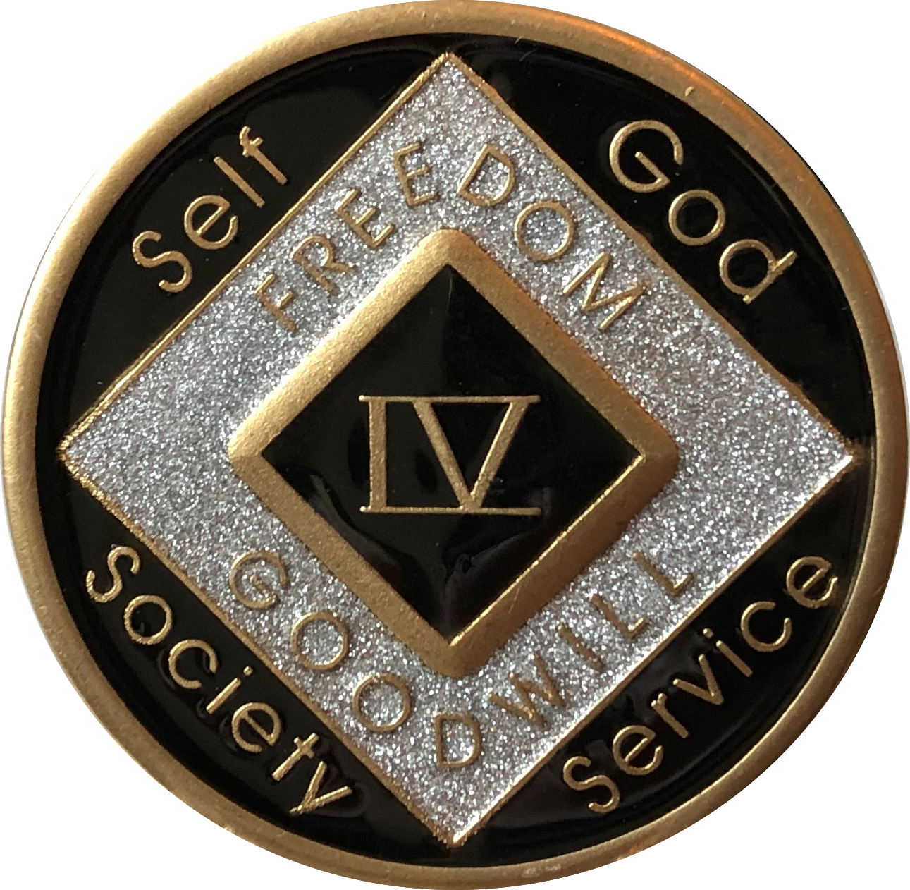 NA Black Gold Coin 37 Year Tri-Plate Narcotics Anonymous Medallion Out of Ashes
