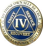 4 Year AA Medallion Reflex Blue Gold Plated Alcoholics Anonymous RecoveryChip Design - RecoveryChip