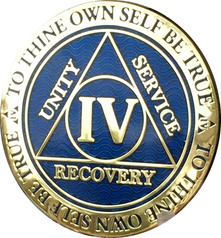 4 Year AA Medallion Reflex Blue Gold Plated Alcoholics Anonymous RecoveryChip Design