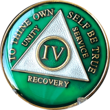 Green Gold Tri-Plate AA Medallion 24 Hours 18 Month Year 1 - 45 Sobriety Chip - RecoveryChip