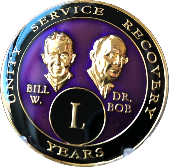 Founders AA Medallion Purple Bill & Bob Tri-Plate Sobriety Chip Year 1 - 50 - RecoveryChip