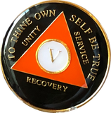 Black Orange Gold Tri-Plate AA Medallion 24 Hours 18 Month Year 1 - 40 Sobriety Chip - RecoveryChip