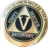 5 Year AA Medallion Elegant Black Gold & Silver Plated RecoveryChip Design - RecoveryChip