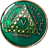 Crystal AA Medallion Transition Green Tri-Plate Sobriety Chip Year 1 - 50 - RecoveryChip