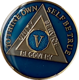 1 - 10 Year AA Medallion Midnight Blue Tri-Plate Sobriety Chip