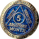 1 - 11 or 18 Month AA Medallion Reflex Blue Glitter Gold Plated Sobriety Chip - RecoveryChip