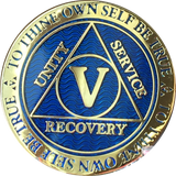 AA Medallion Reflex Blue Color Gold Plated Year 1 - 45 Sobriety Chip - RecoveryChip
