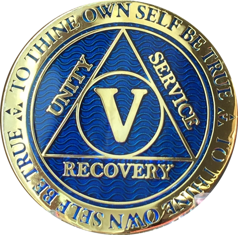 5 Year AA Medallion Reflex Blue Gold Plated Alcoholics Anonymous RecoveryChip Design - RecoveryChip
