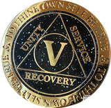 1 2 3 4 5 or 30 Year AA Medallion Reflex Milky Way Glitter Black Gold Plated Sobriety Chip
