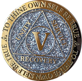1 2 3 4 or 5 Year AA Medallion Reflex Glitter Silver Gold Plated Sobriety Chip - RecoveryChip