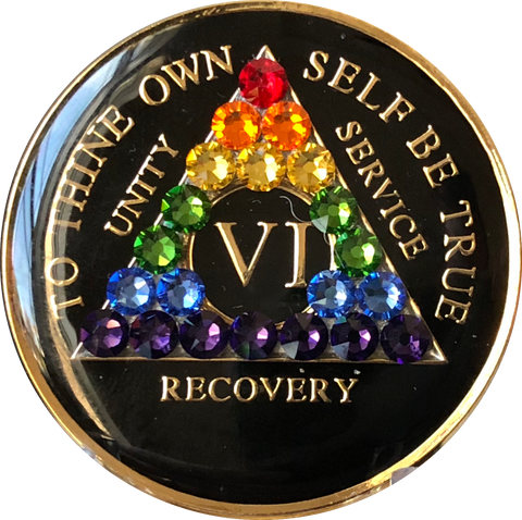 Crystallized AA Medallion Black Rainbow Tri-Plate Sobriety Chip Year 1 - 50 - RecoveryChip