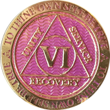 2 - 10 Year AA Medallion Reflex Lavender Pink Gold Plated Alcoholics Anonymous RecoveryChip Design - RecoveryChip