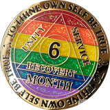 1 2 3 6 9 or 18 Month AA Medallion Reflex Rainbow Glitter Sobriety Chip