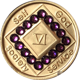1 - 40 Year Official NA Medallion With Velvet Purple Color Swarovski Crystal