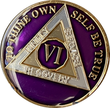 1 - 10 Year AA Medallion Reflex Purple Gold Plated Alcoholics Anonymous
