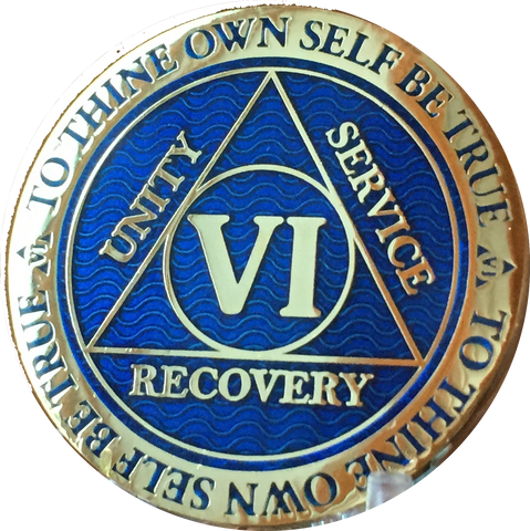 6 Year AA Medallion Reflex Blue Gold Plated Alcoholics Anonymous RecoveryChip Design - RecoveryChip
