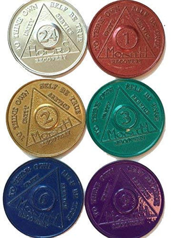 6 Pack of AA Medallions Aluminum Set 1 2 3 6 9 Month & 24 Hours - RecoveryChip
