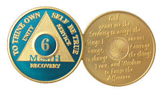 Blue Gold Plated 1 2 3 4 5 6 7 8 9 10 11 18 Month AA Medallion Sobriety Chip - RecoveryChip