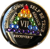 Crystallized AA Medallion Black Rainbow Crystal Tri-Plate Sobriety Chip Year 1 - 50 - RecoveryChip