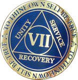 7 Year AA Medallion Reflex Blue Gold Plated Alcoholics Anonymous RecoveryChip Design - RecoveryChip