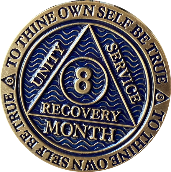 1 2 3 4 5 6 7 8 9 10 11 or 18 Month AA Medallion Antique Reflex Blue Sobriety Chip