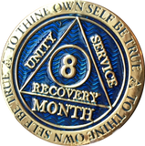 1 - 11 Month AA Medallion Reflex Blue Gold Plated Sobriety Chip Coin - RecoveryChip