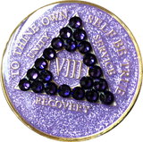 Crystal AA Medallion Purple Glitter Tri-Plate Sobriety Chip Year 1 - 50 - RecoveryChip