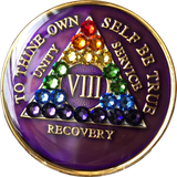 Crystal AA Medallion Purple Rainbow Tri-Plate Sobriety Chip Year 1 - 50 - RecoveryChip