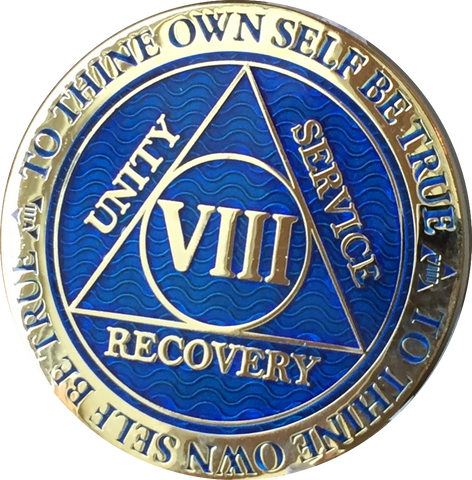 8 Year AA Medallion Reflex Blue Gold Plated Alcoholics Anonymous RecoveryChip Design - RecoveryChip