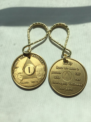 Alcoholics Anonymous 1 Year Founders AA Key Chain Medallion Keychain Fob Tag - RecoveryChip