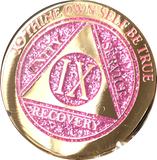 1 - 10 & 30 Year AA Medallion Elegant Glitter Pink Gold & Silver Plated Sobriety Chip - RecoveryChip