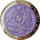 1 2 3 6 9 or 18 Month AA Medallion Reflex Purple Glitter Gold Plated Sobriety Chip
