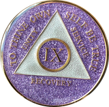 AA Medallion Purple Glitter Tri-Plate Sobriety Chip Year 1 - 50 - RecoveryChip