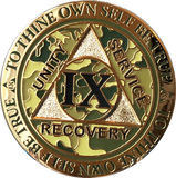 1 - 15 25 and 30 Year Reflex Camo Gold Plated AA Medallion Camouflage Sobriety Chip - RecoveryChip