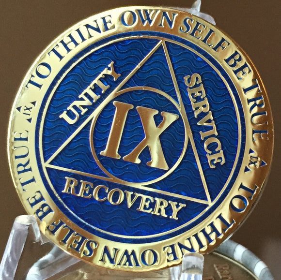 9 Year AA Medallion Reflex Blue Gold Plated Alcoholics Anonymous RecoveryChip Design - RecoveryChip