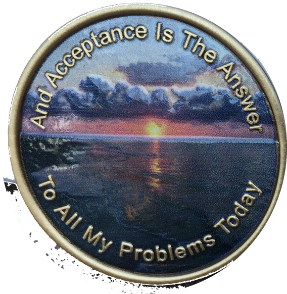 Acceptance Color AA Sobriety Medallion Page 449 - RecoveryChip