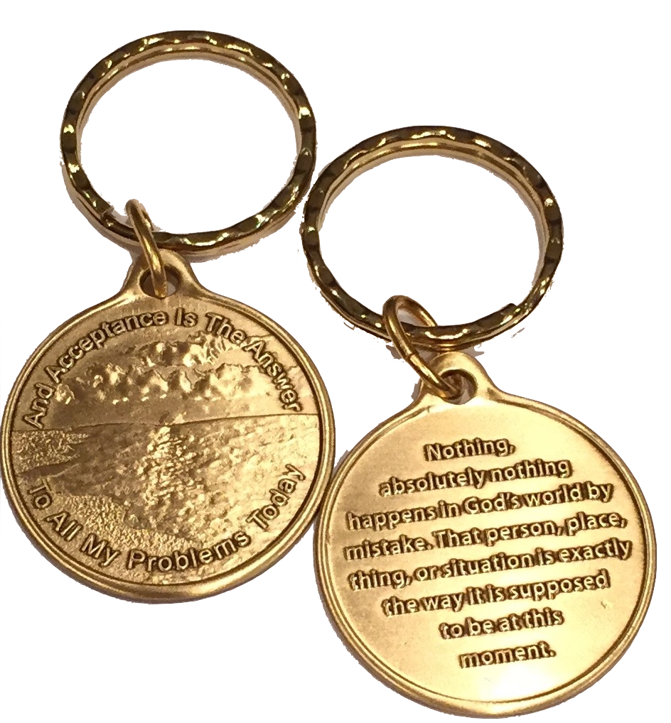 Acceptance Is The Answer Beach Sunrise Bronze AA Keychain 449 417 - RecoveryChip