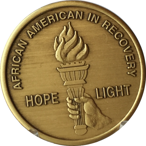 African American In Recovery Torch Hope Serenity Prayer Bronze Medallion Sobriety Chip - RecoveryChip