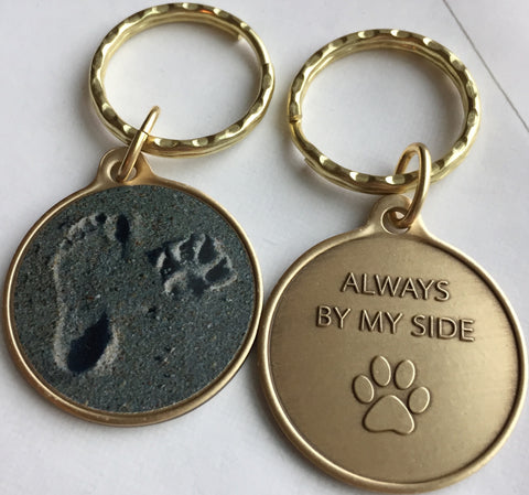 Always By My Side Pet Dog Paw Print Footprint Beach Bronze Keychain - RecoveryChip