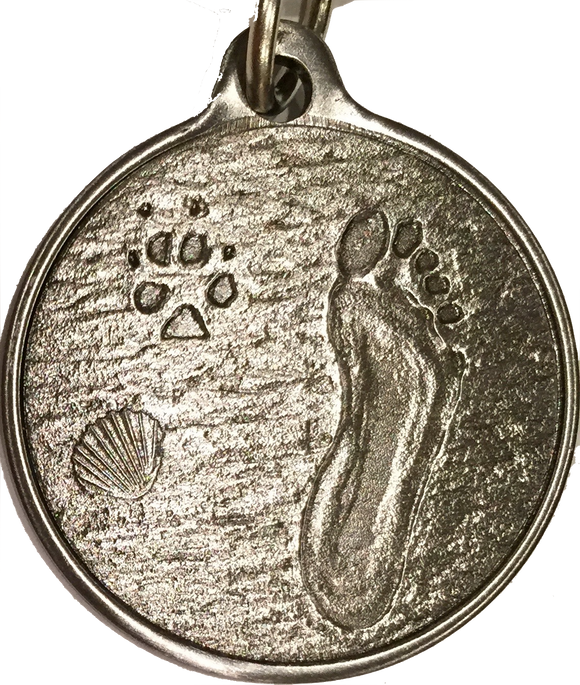Always By My Side Dog Pet Paw Print Footprint Beach Pewter Color Keychain - RecoveryChip