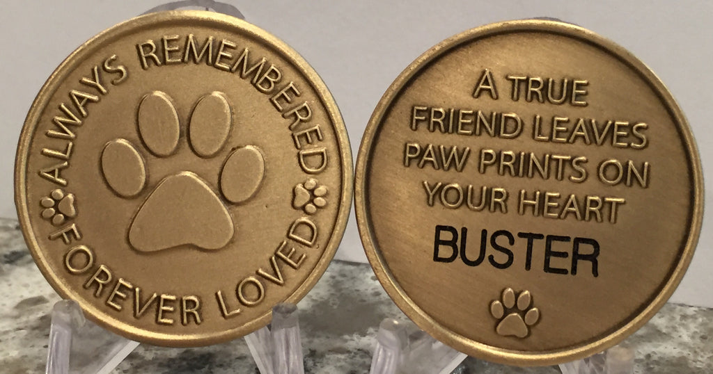 Engraved Name Pet Dog Always Remembered Forever Loved Memorial Medallion Coin - RecoveryChip