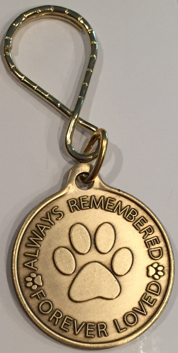 Always Remembered Forever Loved - A True Friend Dog Pet Memorial Keychain RecoveryChip Design - RecoveryChip