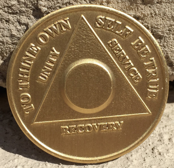 Bronze AA Anniversary Plain Front No Year Medallion Alcoholics Anonymous Medallion Chip Serenity Prayer - RecoveryChip
