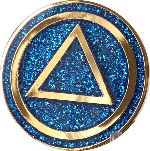 AA Circle Triangle Logo Reflex Blue Glitter Gold Plated Chip - RecoveryChip