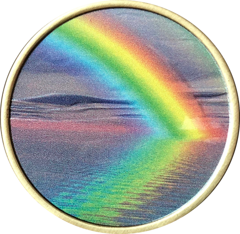 Serenity Peace Within The Storm Color Rainbow Bronze Medallion - RecoveryChip