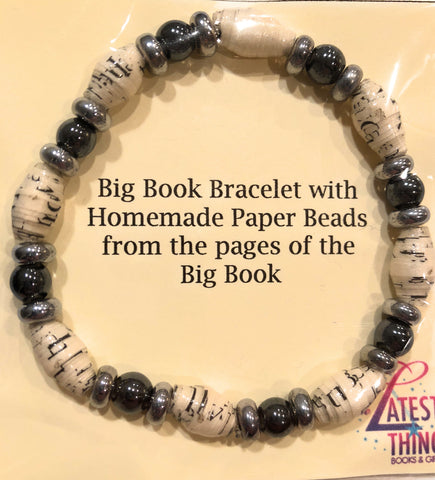 AA Big Book Bracelet Black & Silver Beads Made From Real Pages From The Big Book - RecoveryChip