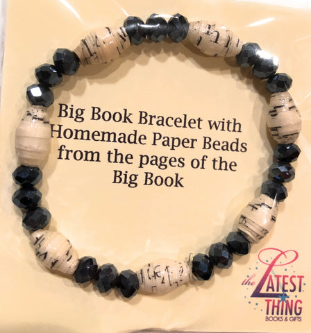 AA Big Book Bracelet Black Beads Made From Real Pages From The Big Book - RecoveryChip