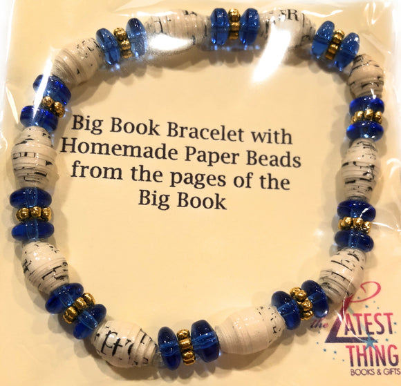 AA Big Book Bracelet Sapphire Blue Beads Made From Real Pages From The Big Book - RecoveryChip